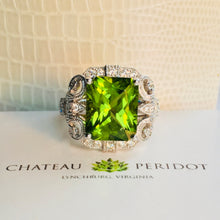 Radiant Cut High Himalayan (Pakistani) Peridot and Diamond Ring