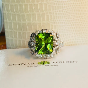 Peridot and Diamond Ring, 4.86 ct. Radiant Cut High Himalayan (Pakistani) Size 7