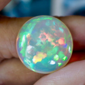 Ethiopian Welo Opal, 15.365 ct. Round Cab, High Dome, Flagstone Pattern
