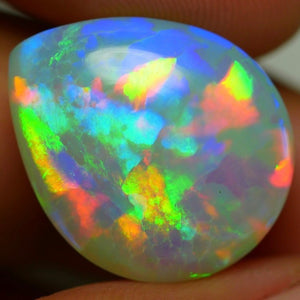 Ethiopian Welo Opal 14 carat, Pear Shaped Cabochon, 3-D Rainbow Patchwork