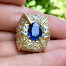 Royal Blue, 6.20+ ct. Sapphire Deco Ring 136 Near Colorless Diamonds 5+ ct. GIA Cert. Size 5.75