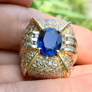 Royal Blue, 6.20+ ct. Sapphire Deco Ring 136 diamonds 5 ct. GIA Cert. Size 5.75