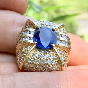 (Sent to GIA for Testing ON HOLD). Royal Blue, 7.20+ ct. Sapphire Deco Ring 136 diamonds est. 6.65 ctw. Size 5.75