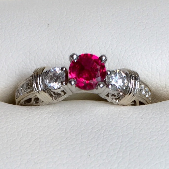 Beautiful, .50 plus ct. Ruby Ring, with .70+ ct. diamonds in 14kwg