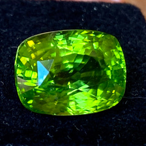 Peridot, 12.17 ct., Flawless, Burma, Cushion Cut