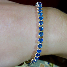 Blue Sapphire Tennis Bracelet, Pailin, 14k Yellow Gold