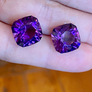 Uruguay Amethyst, 22ctw Matched Pair, Red Flash 11+ carats each