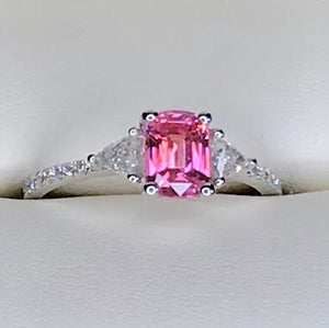 SOLD Padparadscha Sapphire 2.ct. Engagement Ring, 1.00 + ct. Colorless Diamonds 18k, Size 7, GIA Certified CLEARANCE