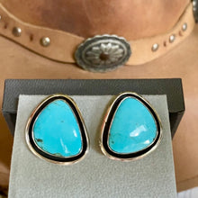 turquoise earrings post back and .925 silver vintage designer hallmark turquoise likely kingsman mine