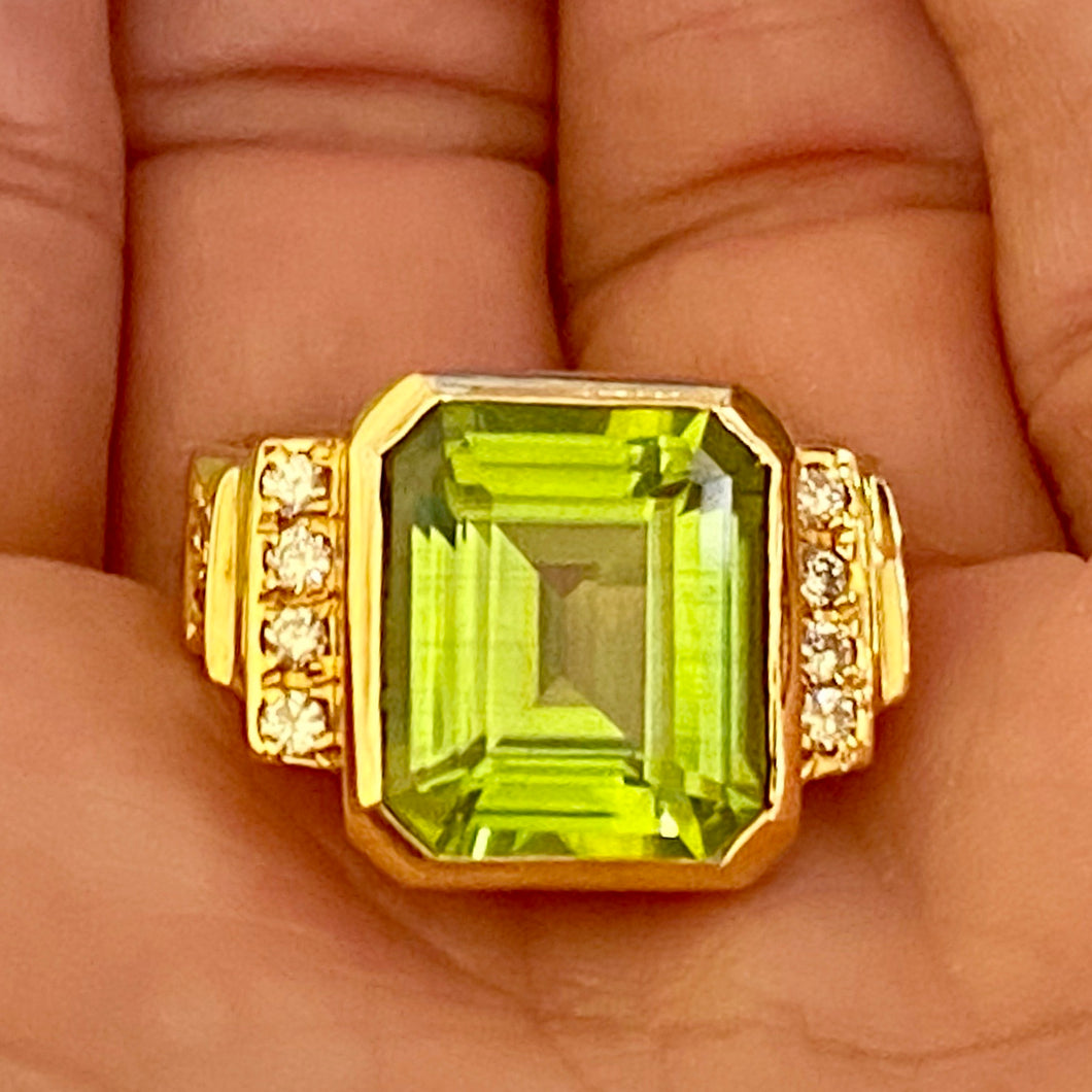 Estate Euro-Style Fabulous Burmese Peridot Diamond Ring, Size 8