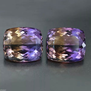 Ametrine, Matched Pair, 78.05 tcw. Brilliant Cushion Cut