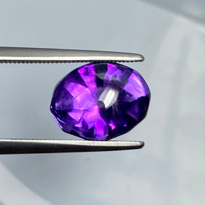 5.36 Carat Cabochon Amethyst with Faceted Base, Award Winning Cutter, VVS