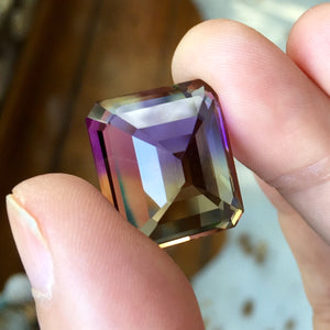 Ametrine, 27.78 ct. Emerald Cut, Flawless, Bolivia, Top Color Showing Deep Purple, Golden-Yellow, Pinkish Purple, Blue