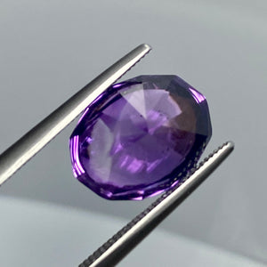 Faceted Back 5.36 Carat Cabochon Amethyst with Faceted Base, Award Winning Cutter, VVS