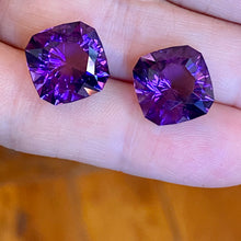 Uruguay Amethyst, (2) - 22ctw Matched Pair, Ultra Deep Purple, Red Flash, Uruguay