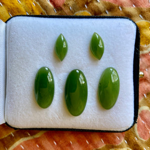 Nephrite Jade, Finest Jade, Top Color, Set of 5