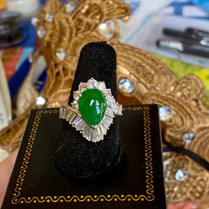 Jadeite Ring, Imperial Green 4.0 ct. Burma, Diamonds VVS-D to E, 2.25 ctw. Platinum, Mid-Century