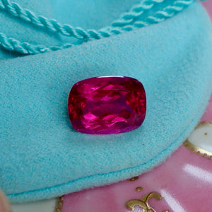 Rubellite Tourmaline, 7.73 ct. Purplish-Red, a.k.a. Pigeon Blood Red GIA Certified, Cushion Cut