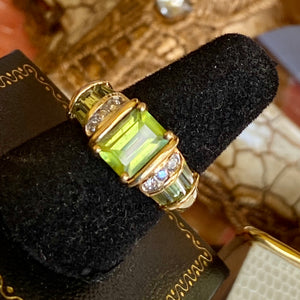 Peridot Diamond Engagement Ring, Burmese 2.50+ Ct. 14k, Size 6.75 .25+ diamonds