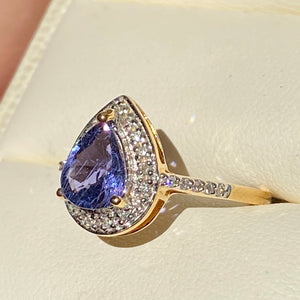 Sapphire Engagement Ring No Heat GLC certified Diamond 18k Engagement Ring, Size 7
