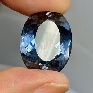 Namibian Apatite, 31.13 Ct. Flawless, Blue Gray, Rare Size/Color/Clarity, Oval Cut