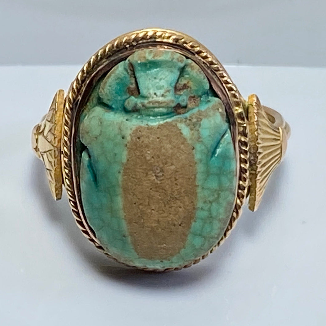 Antique Egyptian Scarab Beetle Ring, 1920s', Copper Gold