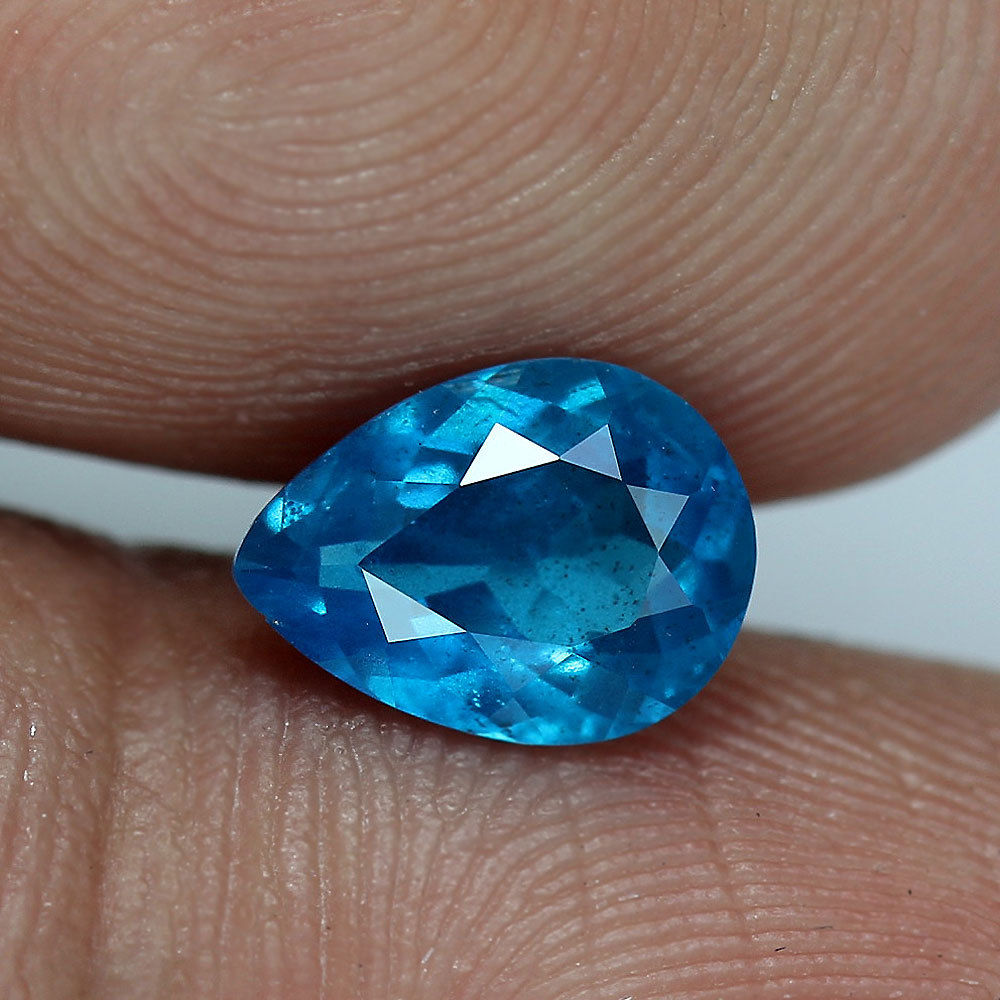 .97 ct. - Apatite - French Blue - Pear Cut - Brazil - No Treatment