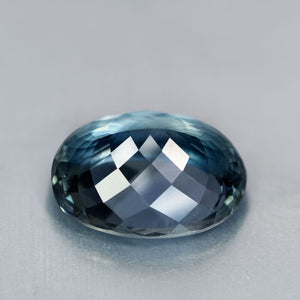 31.13 Carat Flawless Blue Gray Namibian Apatite, Rare Size/Color/Clarity, Oval