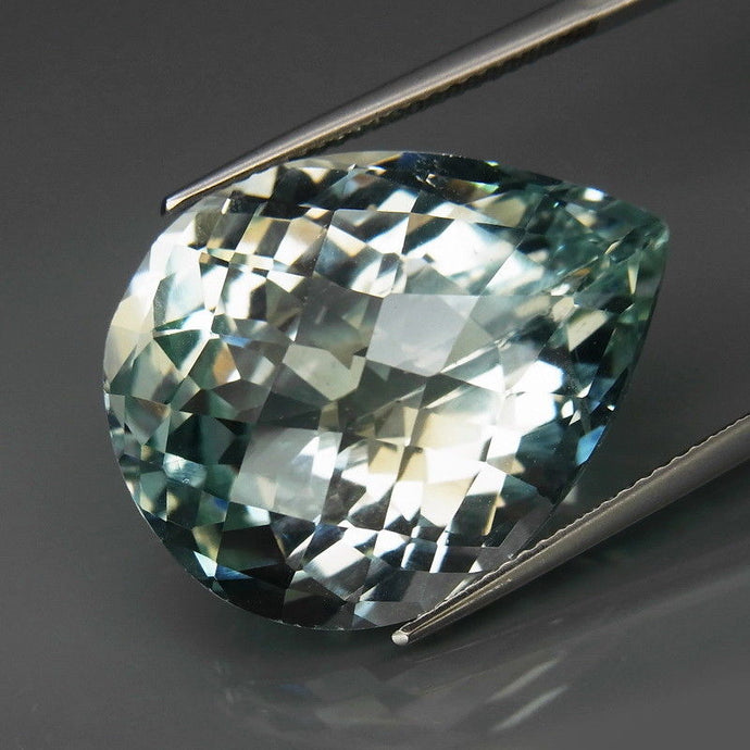 40.38 ct. Natural, Untreated Topaz, Greenish Blue, Pear Checkerboard