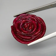 13.00 ct. No Heat Natural Ruby, Hand Carved Rose, Red, Tanzania