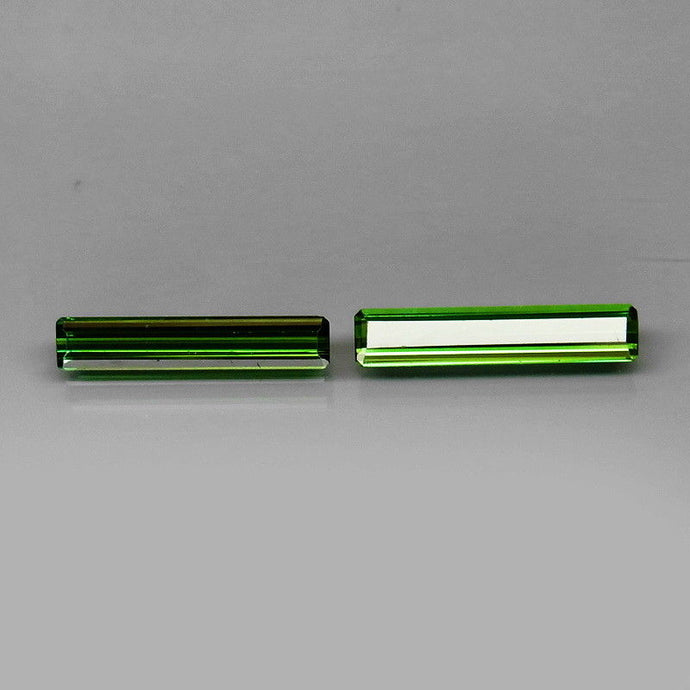Tourmaline, 1.65 tcw. Green (2) Matched Pair, Emerald/Step Cut, Mozambique