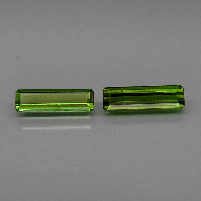 Tourmaline, 1.77 ct. Green (2) Matched Pair, Mozambique, Emerald Cut
