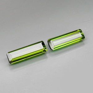 1.61 Green Tourmaline (2) Matched Pair, Emerald Cut, Mozambique, VS