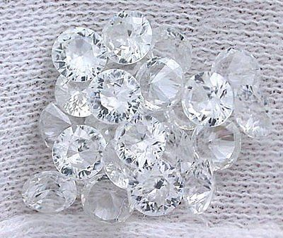 Round, Brilliant, Natural, White Zircon, Melee Accent Gem Stones.