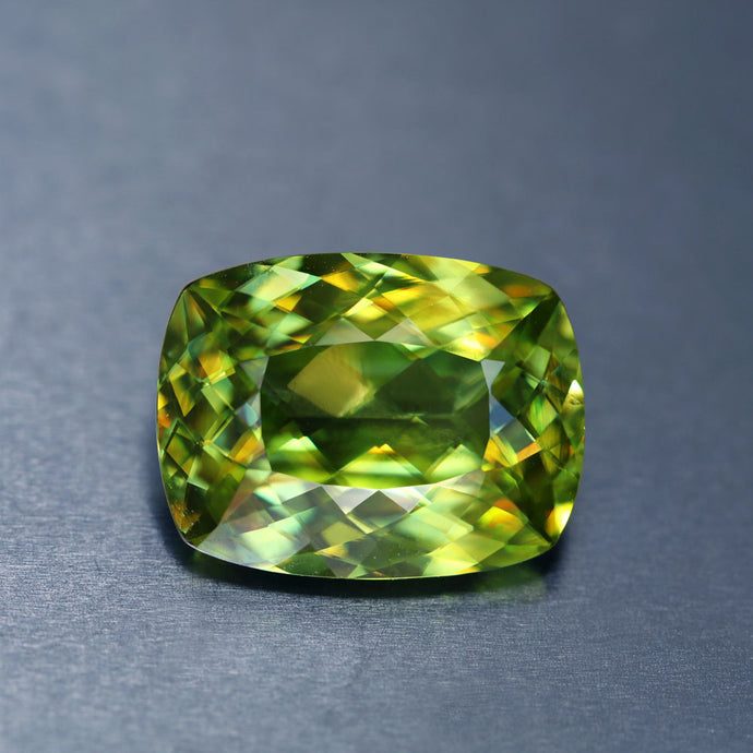 Sphene, 5 ct. Green, No Heat or Treatment, VVS, Excellent Cushion Cut