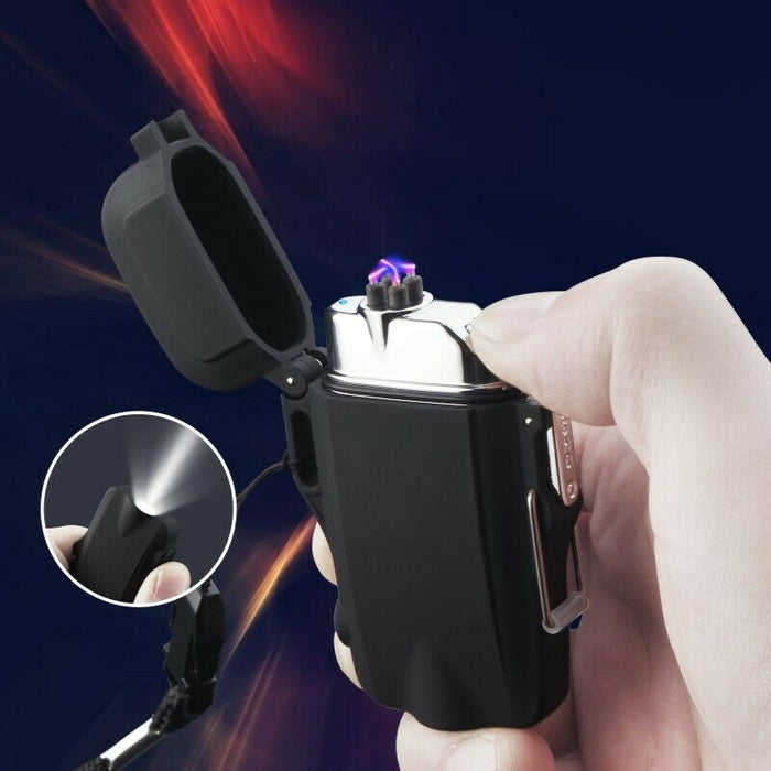 Arc Lighter Flameless Waterproof Electric Lighter w\ Flashlight - Black
