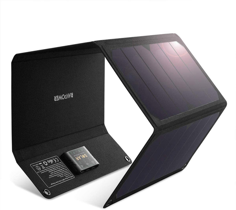 RAVPower Solar Charger 28W - 16W Solar Panel with Dual USB Port Waterproof