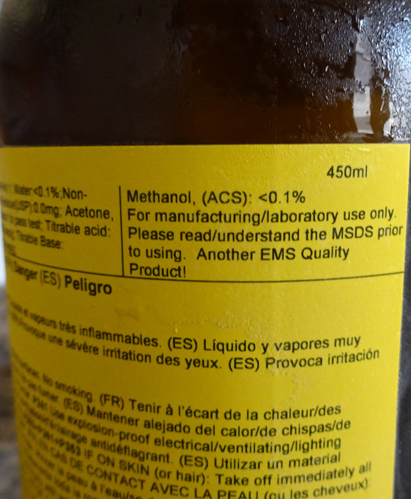Pure Ethanol, dehydrated alcohol, 200 Proof, Pure Ethanol >99.9% 450ml EMS