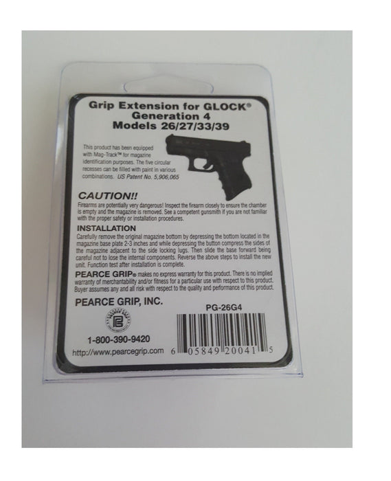 Pearce Grip PG26G4 - PG-26G4 -Fits Gen 4 GLOCK Model 26 27 33 39 Extension NEW