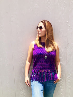 'Violeta'  Mexican Loom Woven Blouse, Sleeveless Tank