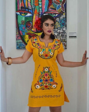 Las Flores Mexican Embroidered Dress Yellow