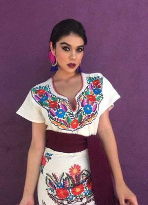 Las Flores Mexican Embroidered Dress White
