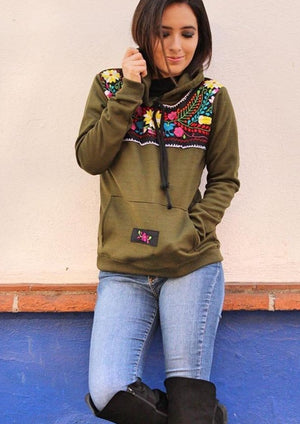 'Olive Green'  Mexican Embroidered Flowers Hoodie