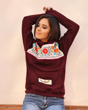 'The Wine'  Mexican Embroidered Flowers Hoodie