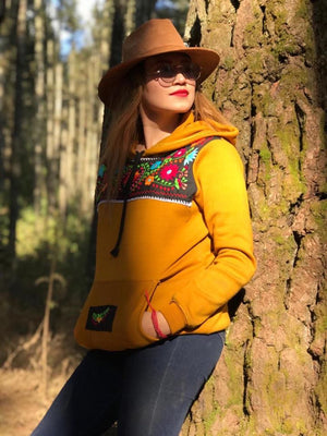 'The Mustard'  Mexican Embroidered Flowers Hoodie