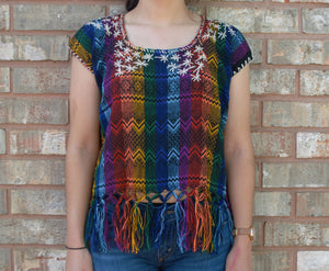 Campanelas Multi-Colored Loom Woven Embroidered Mexican Blouse