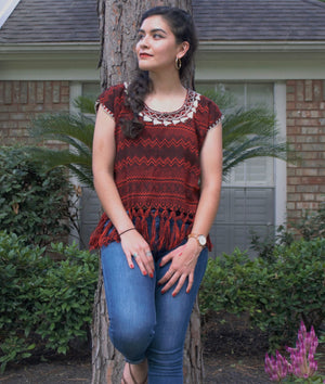 Campanelas Red Loom Woven Embroidered Mexican Blouse