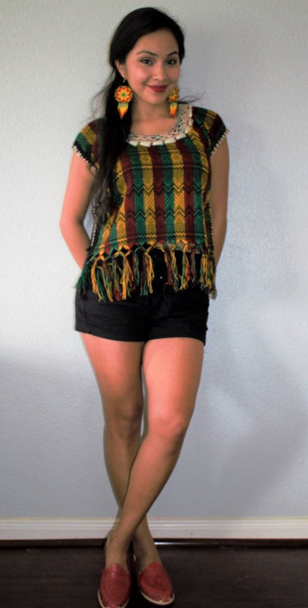 'Campanilla'  Multi-Colored Loom Woven Embroidered Mexican Blouse
