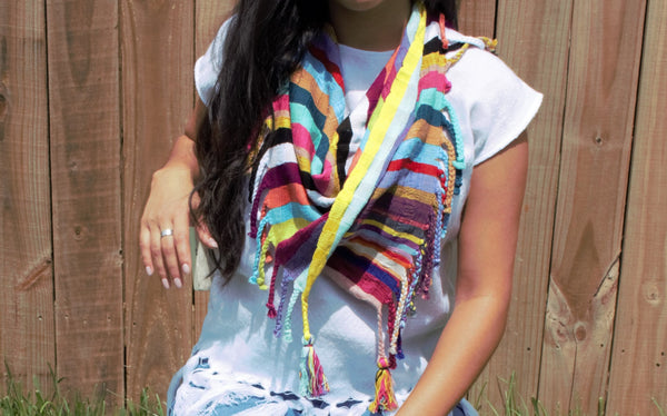 Multi-Colored Loom Woven Pashmina Scarf