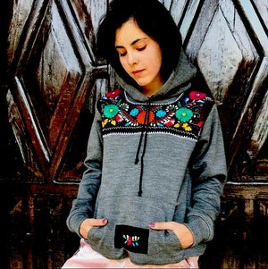 Gray Azucena, Mexican Embroidered Flowers Hoodie